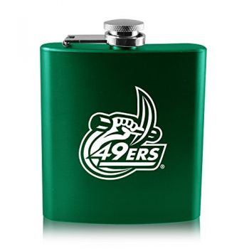 University of North Carolina at Charlotte -6 oz. Color Stainless Steel Flask-Green