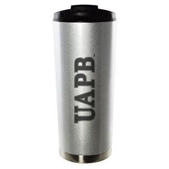 University of Arkansas at Pine Bluff-16oz. Stainless Steel Vacuum Insulated Travel Mug Tumbler-Silver
