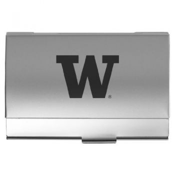 University of Washington - Two-Tone Business Card Holder - Silver