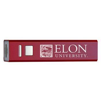 Elon University - Portable Cell Phone 2600 mAh Power Bank Charger - Burgundy