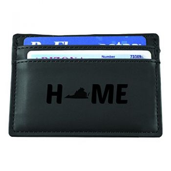 Virginia-State Outline-Home-European Money Clip Wallet-Black
