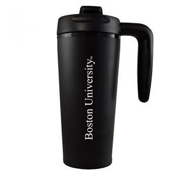 Boston University -16 oz. Travel Mug Tumbler with Handle-Black