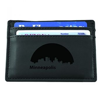 Slim Wallet with Money Clip - Minneapolis City Skyline