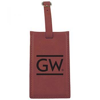 George Washington University -Leatherette Luggage Tag-Burgundy