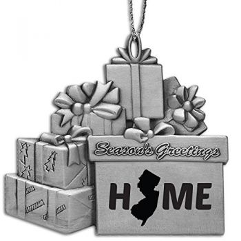 New Jersey-State Outline-Home-Pewter Gift Package Ornament-Silver