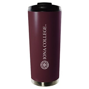 Iona College-16oz. Stainless Steel Vacuum Insulated Travel Mug Tumbler-Burgundy