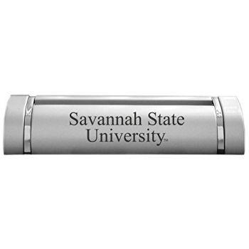 Savannah State University-Desk Business Card Holder -Silver