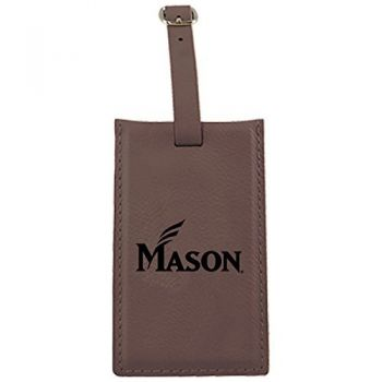 George Mason University -Leatherette Luggage Tag-Brown