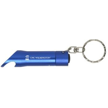 University of North Carolina Wilmington - LED Flashlight Bottle Opener Keychain - Blue