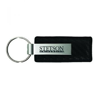 Stetson University-Carbon Fiber Leather and Metal Key Tag-Black