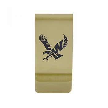 Emory University|Money Clip with Contemporary Metals Finish|Solid Brass|High Tension Clip to Securely Hold Cash, Cards and ID's|Silver