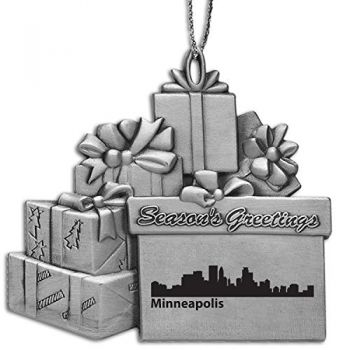 Minneapolis, Minnesota-Pewter Gift Package Ornament-Silver