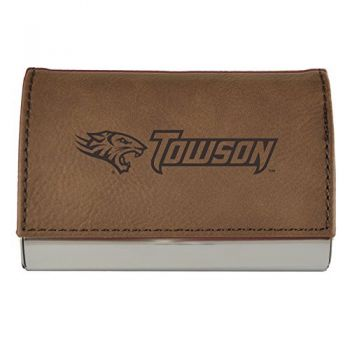 Velour Business Cardholder-Towson University-Brown
