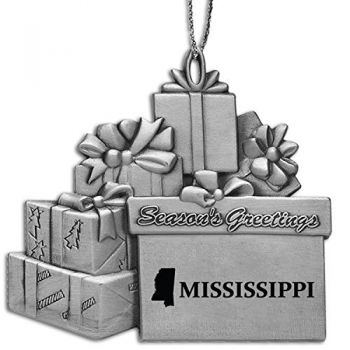 Mississippi-State Outline-Pewter Gift Package Ornament-Silver