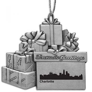 Pewter Gift Display Christmas Tree Ornament - Charlotte City Skyline