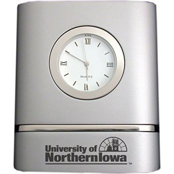 University of Northern Iowa- Two-Toned Desk Clock -Silver