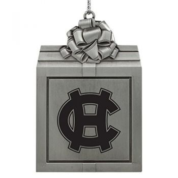 College of the Holy Cross-Pewter Christmas Holiday Present Ornament-Silver