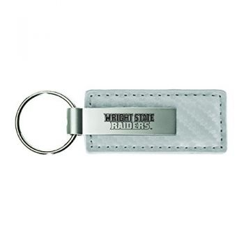 Washington State University-Carbon Fiber Leather and Metal Key Tag-White