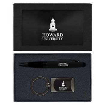 Howard University -Executive Twist Action Ballpoint Pen Stylus and Gunmetal Key Tag Gift Set-Black