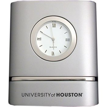 University of Houston- Two-Toned Desk Clock -Silver