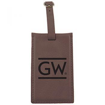 George Washington University -Leatherette Luggage Tag-Brown