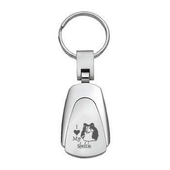 Teardrop Shaped Keychain Fob  - I Love My Sheltie