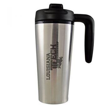 Louisiana Tech University -16 oz. Travel Mug Tumbler with Handle-Silver