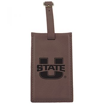 Utah State University -Leatherette Luggage Tag-Brown