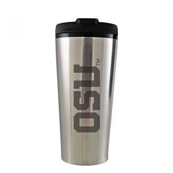 University of Oregon -16 oz. Travel Mug Tumbler-Silver