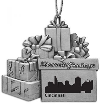 Pewter Gift Display Christmas Tree Ornament - Cincinnati City Skyline