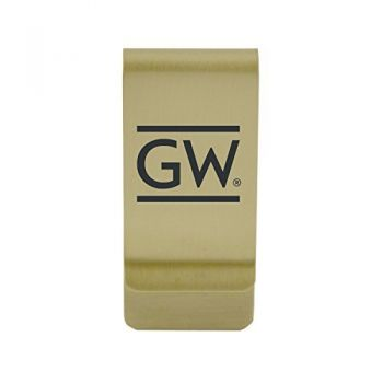 Georgetown University|Money Clip with Contemporary Metals Finish|Solid Brass|High Tension Clip to Securely Hold Cash, Cards and ID's|Silver