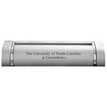 University of North Carolina at Greensboro-Desk Business Card Holder -Silver