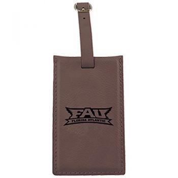 Florida Atlantic University -Leatherette Luggage Tag-Brown