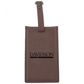 Davidson College-Leatherette Luggage Tag-Brown