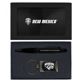 The University of New Mexico -Executive Twist Action Ballpoint Pen Stylus and Gunmetal Key Tag Gift Set-Black