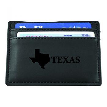 Texas-State Outline-European Money Clip Wallet-Black