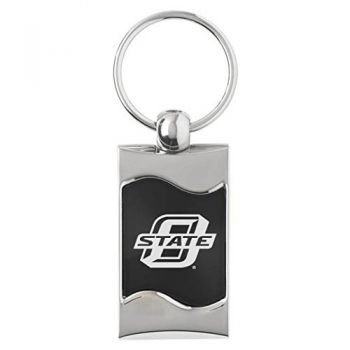 Oklahoma State University??Stillwater - Wave Key Tag - Black