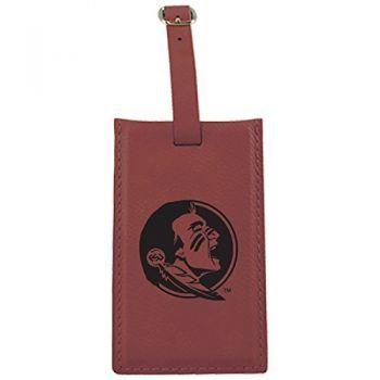 Florida State University -Leatherette Luggage Tag-Burgundy