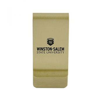 Winthrop University|Money Clip with Contemporary Metals Finish|Solid Brass|High Tension Clip to Securely Hold Cash, Cards and ID's|Silver