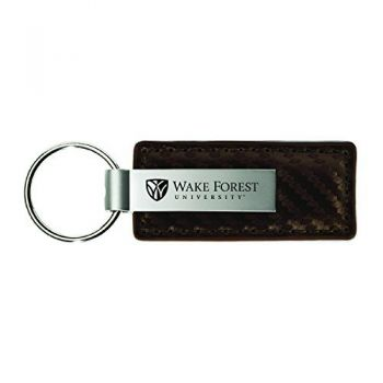 Wake Forest University-Carbon Fiber Leather and Metal Key Tag-Taupe