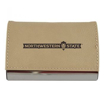 Velour Business Cardholder-Northwestern State University-Tan