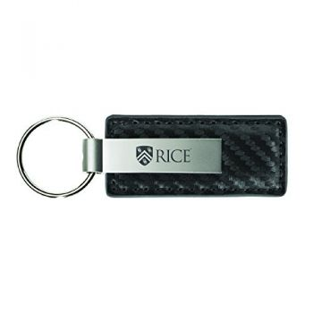 Rice University-Carbon Fiber Leather and Metal Key Tag-Grey