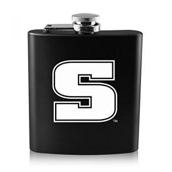 Slippery Rock University -6 oz. Color Stainless Steel Flask-Black