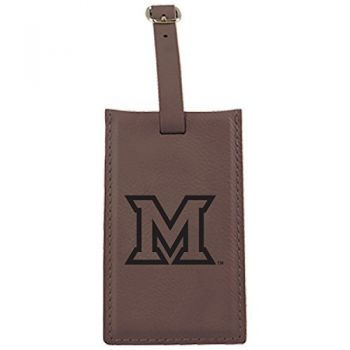 Miami University -Leatherette Luggage Tag-Brown