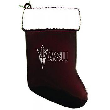 ASU Sun Devils - Chirstmas Holiday Stocking Ornament - Burgundy