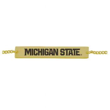 Michigan State University-Frankie Tyler Contemporary Bar Bracelet-Gold