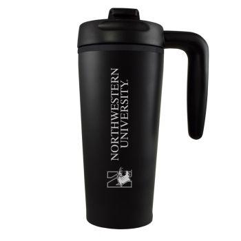 Northwestern University -16 oz. Travel Mug Tumbler with Handle-Black