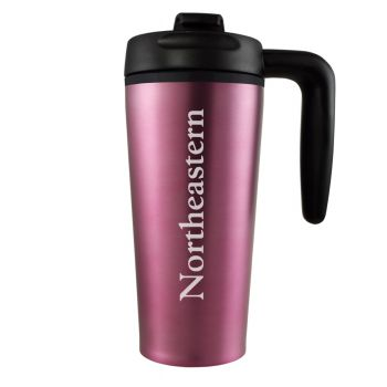 Northeastern University -16 oz. Travel Mug Tumbler with Handle-Pink