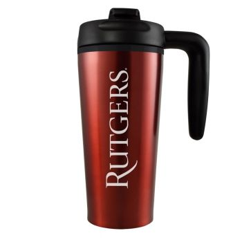 Rutgers University -16 oz. Travel Mug Tumbler with Handle-Red