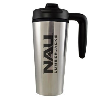Northern Arizona University -16 oz. Travel Mug Tumbler with Handle-Silver